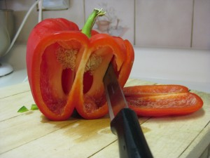 Cutting up a red pepper
