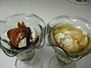 Hot Fudge and Caramel Sundaes